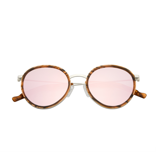 Retro pink mirror round sunglasses with tortoise frames and sport grip