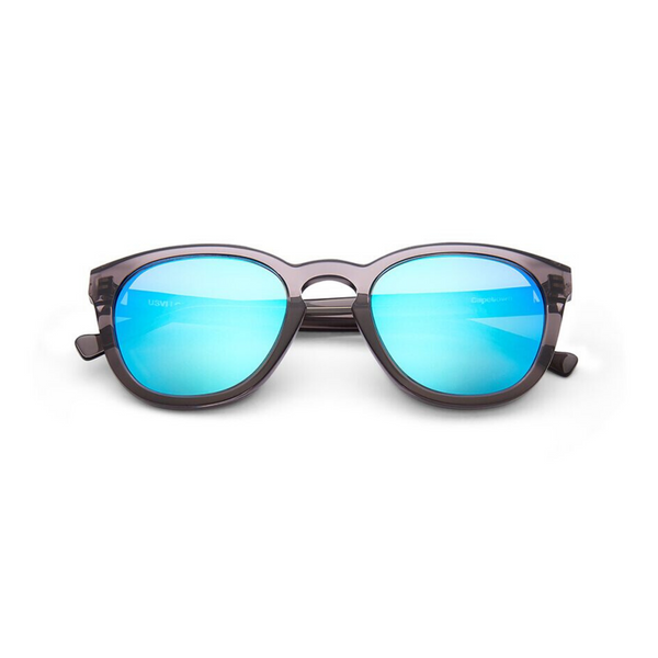 Black d-frame sunglasses with blue mirror lens