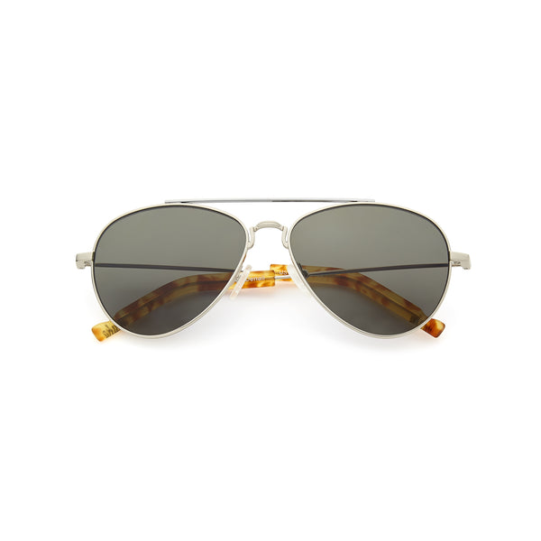 Silver frame teardrop aviator sunglasses with gray lens