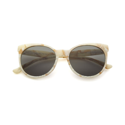 Ivory round cat eye sunglasses with gray lens