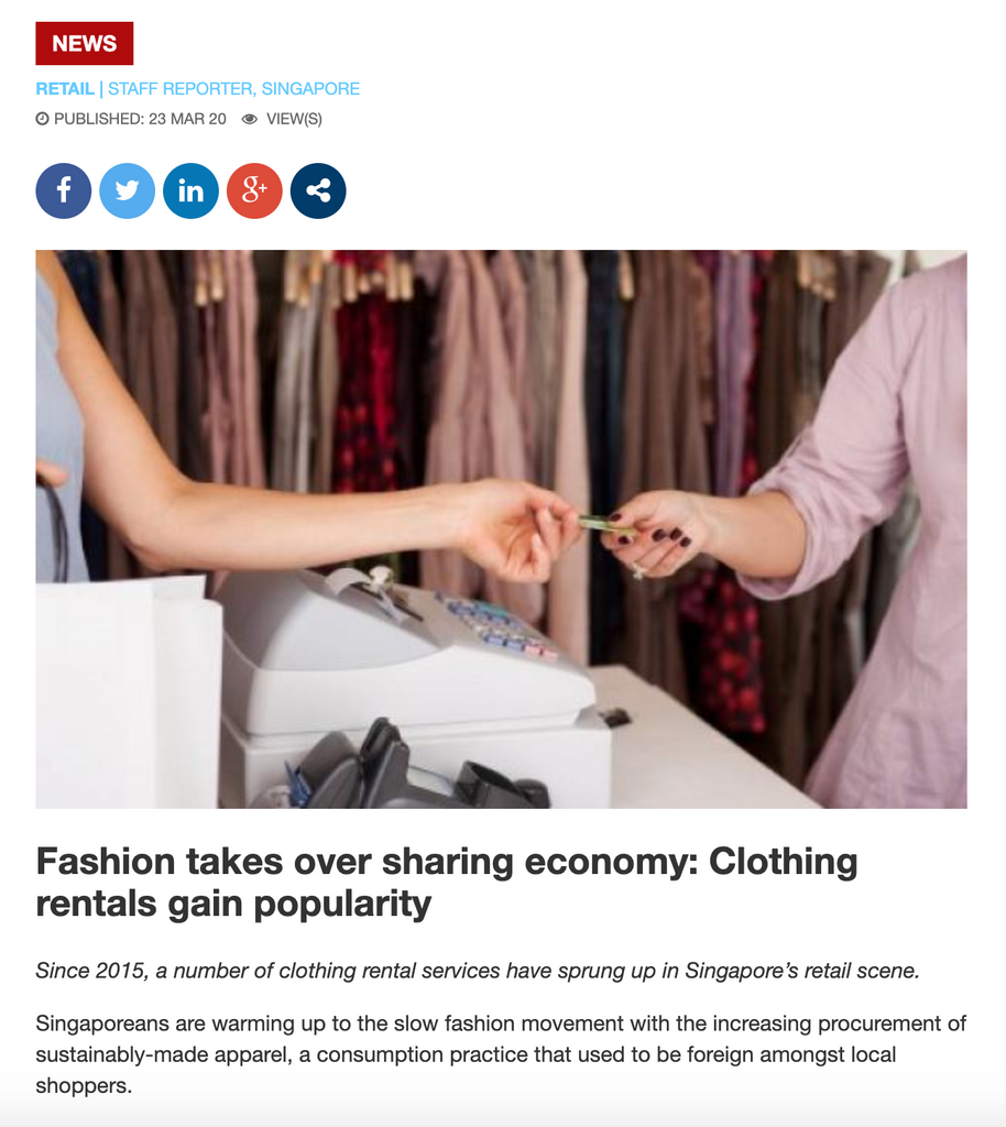 Singapore Business Review | Fashion takes over sharing economy: Clothing rentals gain popularity