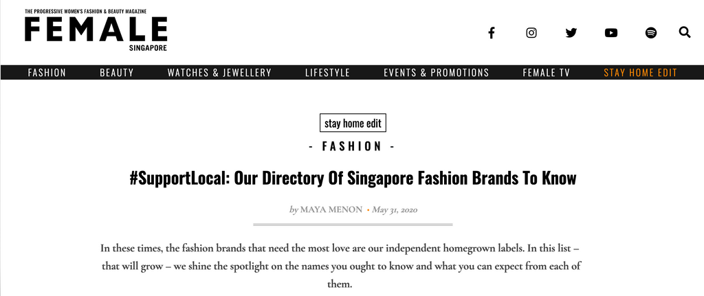 FEMALE | #SupportLocal: Our Directory Of Singapore Fashion Brands To Know