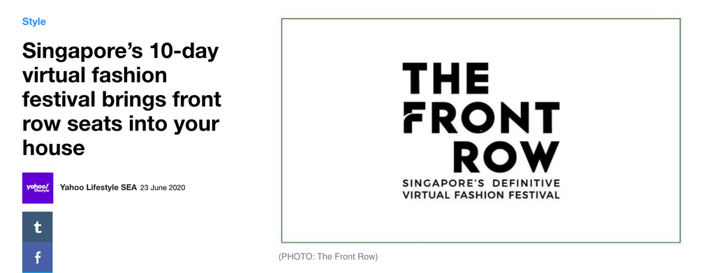 Yahoo Lifestyle | Singapore's 10-day virtual fashion festival brings front row seats into your house