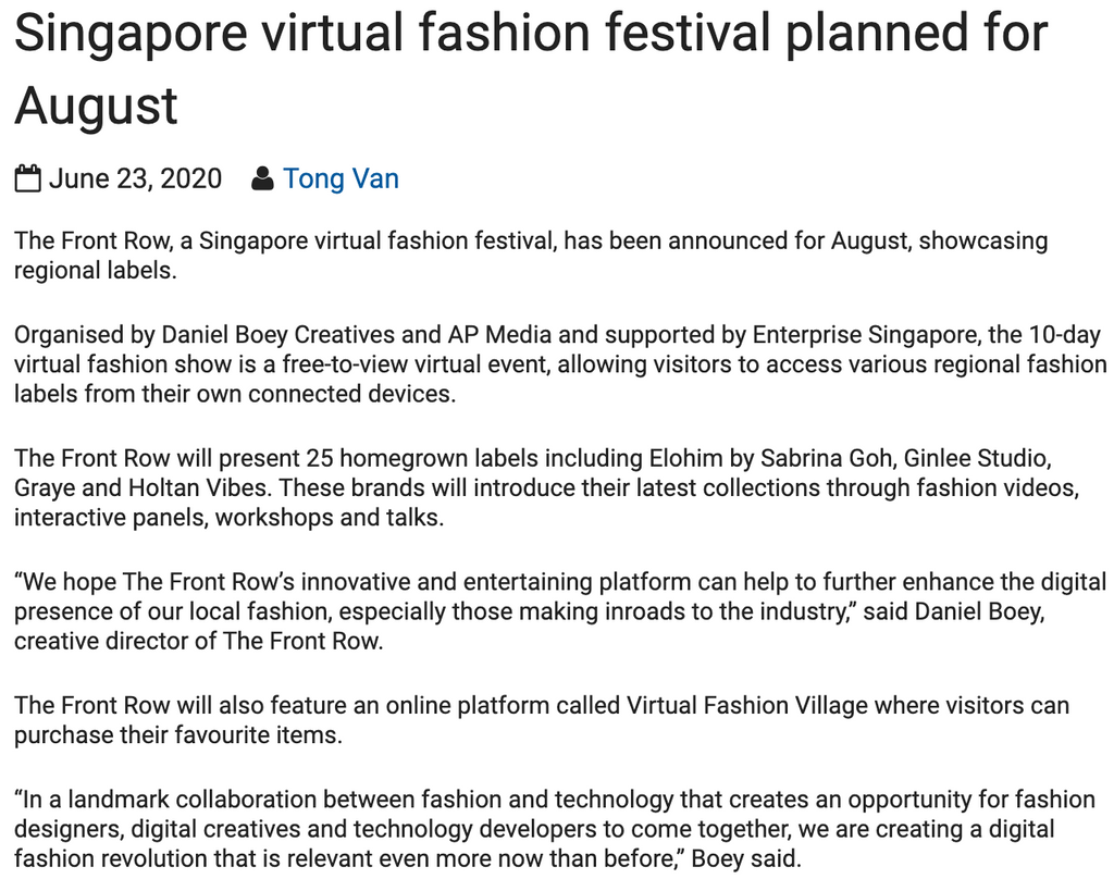 Inside Retail Asia | Singapore virtual fashion festival planned for August
