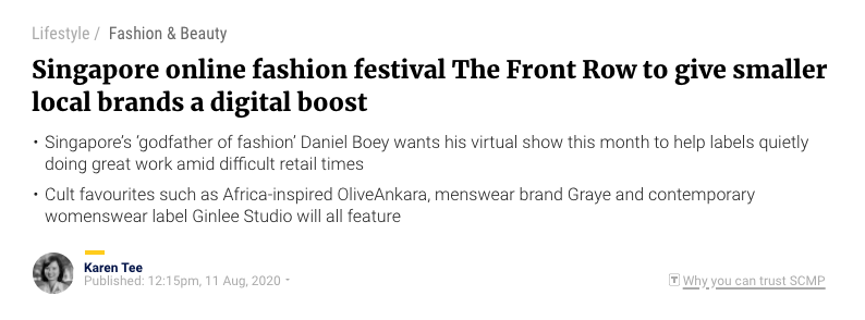 South China Morning Post | Singapore online fashion festival The Front Row to give smaller local brands a digital boost