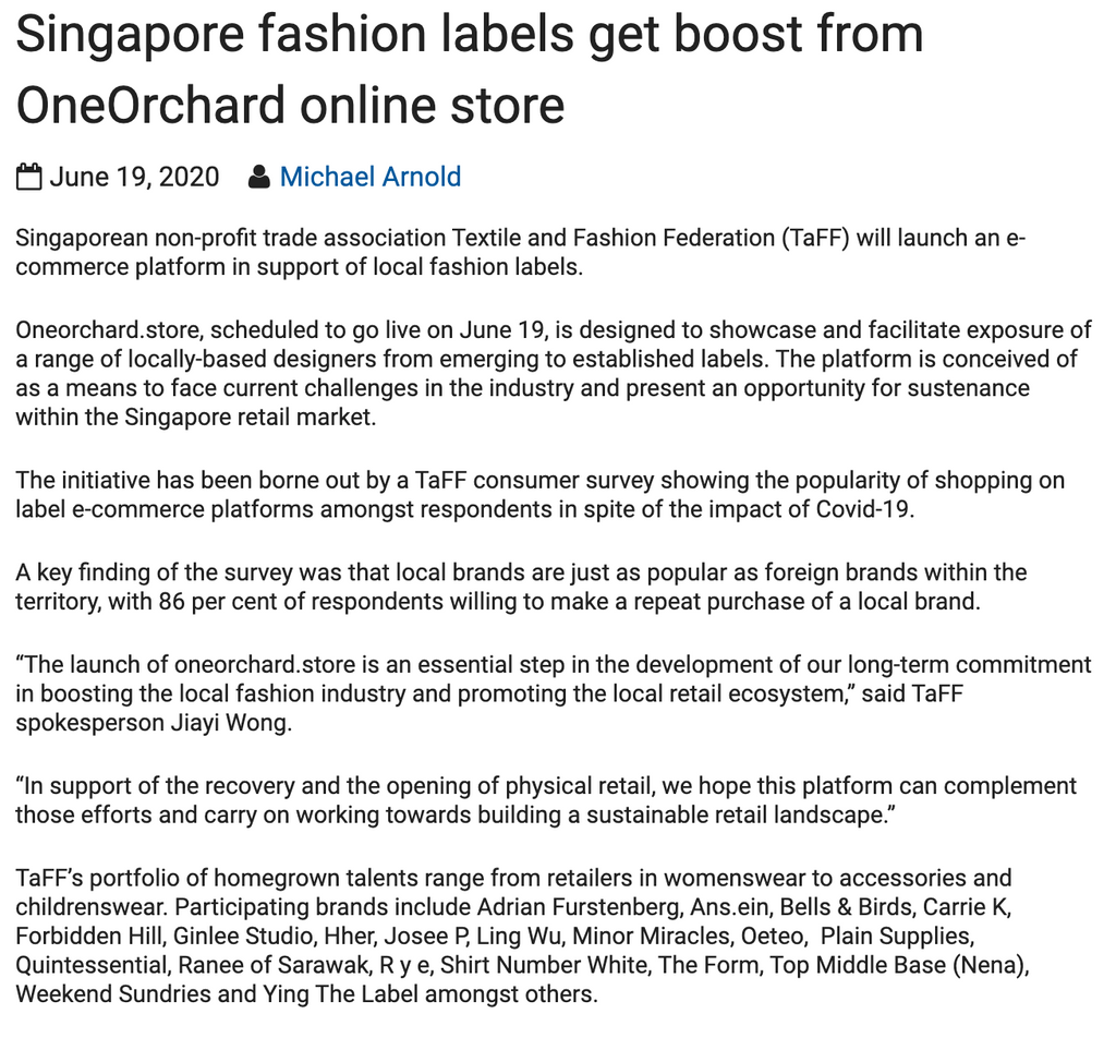 Inside Retail Asia | Singapore fashion labels get boost from OneOrchard online store