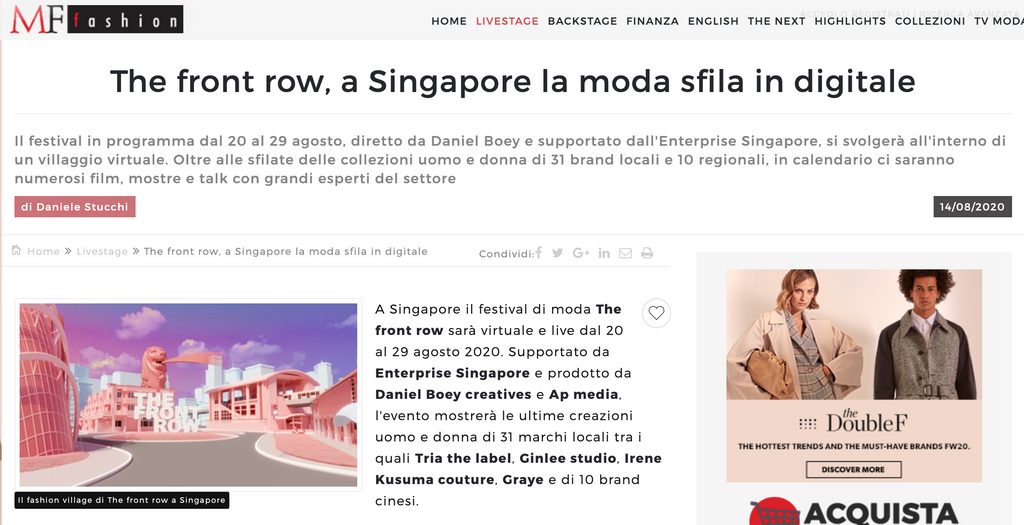 MF Fashion | The front row, a Singapore la moda sfila in digitale