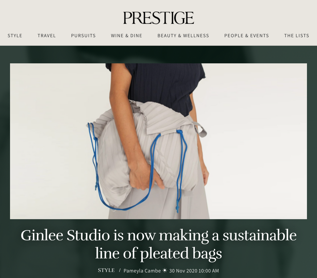 Prestige | GINLEE Studio is now making a sustainable line of pleated bags