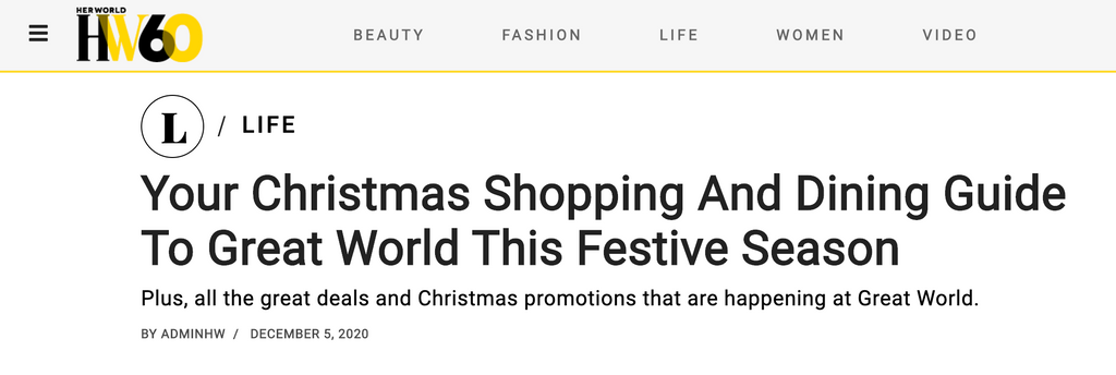 Her World | Your Christmas Shopping And Dining Guide To Great World This Festive Season