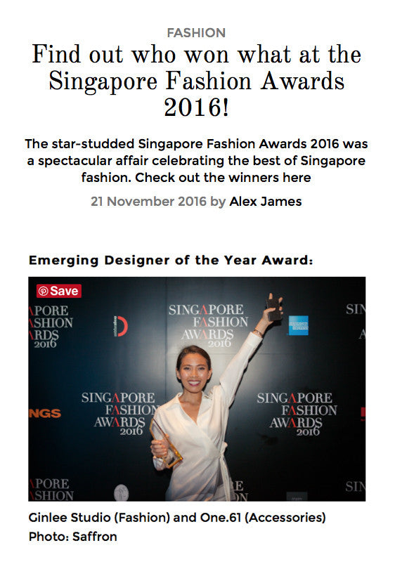 HER WORLD PLUS: Singapore Fashion Awards 2016 Emerging Designer of the Year Award