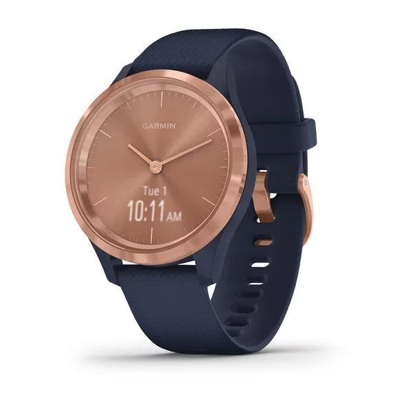 Garmin Activity Monitors 3S (39 MM) / Rose Gold Stainless Steel Bezel with Navy Case and Silicone Band Garmin Vivomove 3 | 3S | Style | Luxe