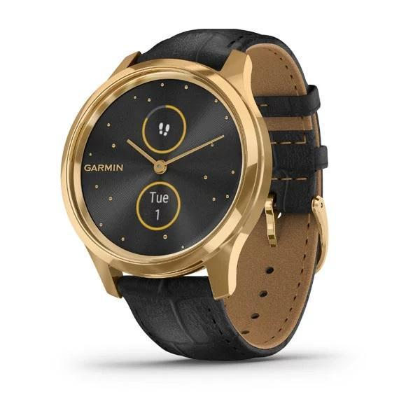 Garmin Activity Monitors Luxe | Style (42 MM) / 24K Gold PVD Stainless Steel Case with Black Embossed Italian Leather Band Garmin Vivomove 3 | 3S | Style | Luxe