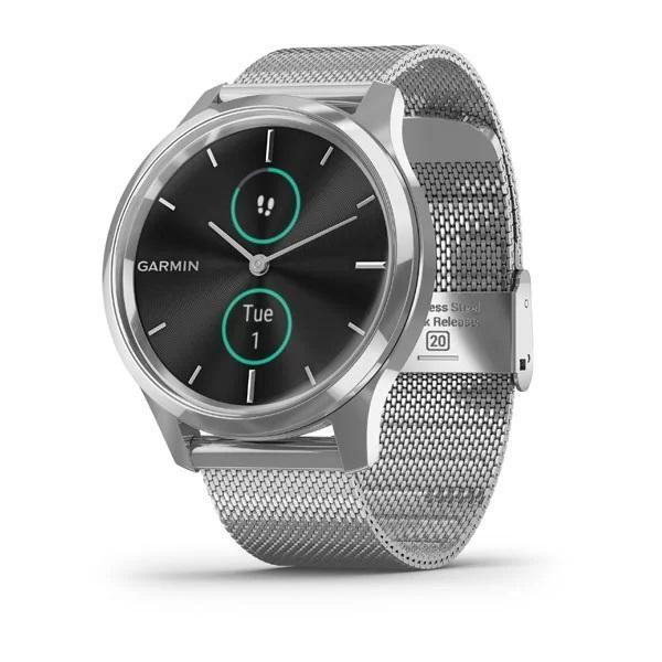 Garmin Activity Monitors Luxe | Style (42 MM) / Silver Stainless Steel Case with Silver Milanese Band Garmin Vivomove 3 | 3S | Style | Luxe