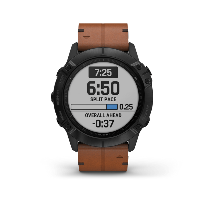 Garmin Multi-Sport Watch Black DLC with Chestnut Leather Band / Sapphire Garmin fēnix 6X Pro and fēnix 6X Sapphire