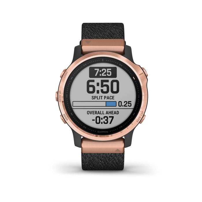Garmin Multi-Sport Watch Rose Gold-tone with Heathered Black Nylon Band / Sapphire Garmin fēnix 6S Pro and fēnix 6S Sapphire