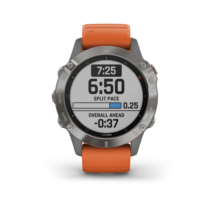 Garmin Multi-Sport Watch Titanium with Ember Orange Band / Sapphire Garmin fēnix 6 Pro and fēnix 6 Sapphire