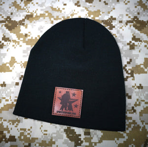 Knit Beanie - Leather Patch