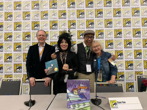 Publisher Dan Herman, Kaz, Stan Yan, and Trina Robbins after their successful panel premiering Kaz's new book!