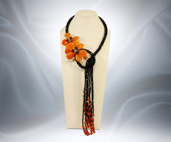 Carnelian Black Onyx Flower Necklace - Tibet Arts & Healing