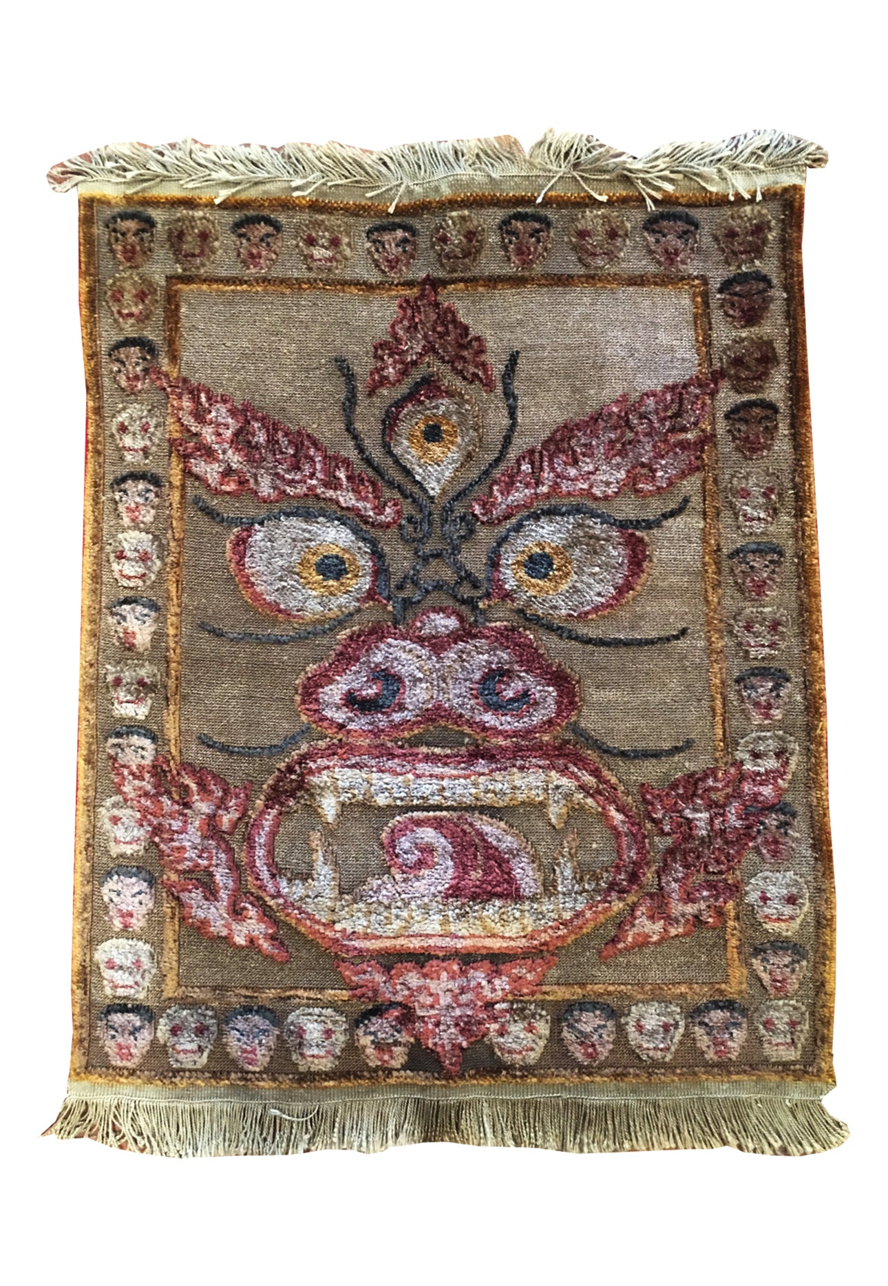 Mahakala Silver threaded Silk Rug - Tibet Arts & Healing