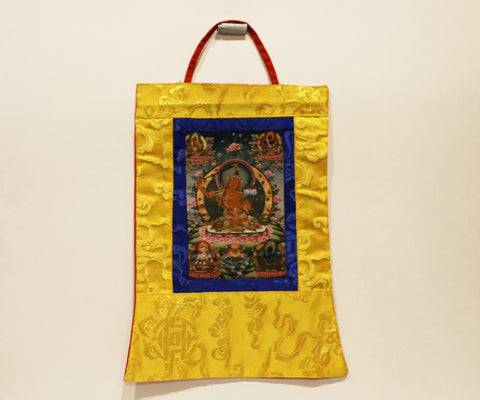 Mini Wisdom & Learning (Manjushri) Thangka - Tibet Arts & Healing