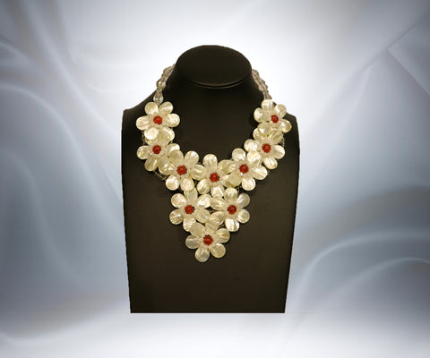 Mother of Pearl Carnelian Flower Necklace - Tibet Arts & Healing