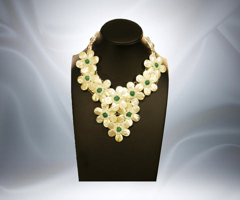 Mother of Pearl Green Jade Flower Necklace - Tibet Arts & Healing