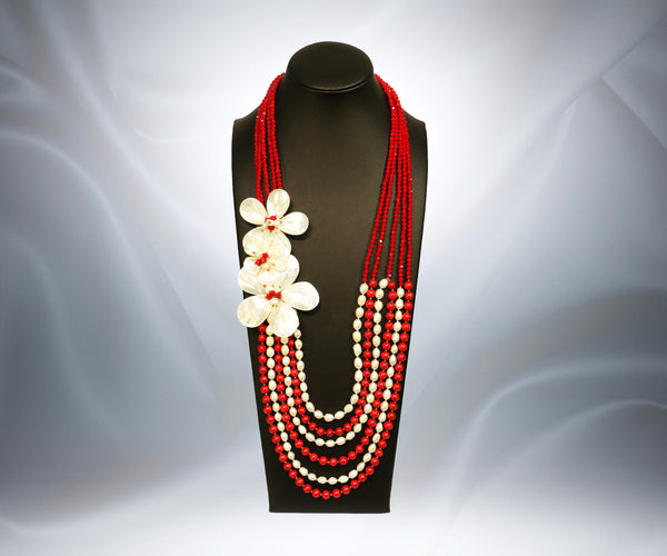 Mother of Pearl Red Onyx Flower Necklace - Tibet Arts & Healing