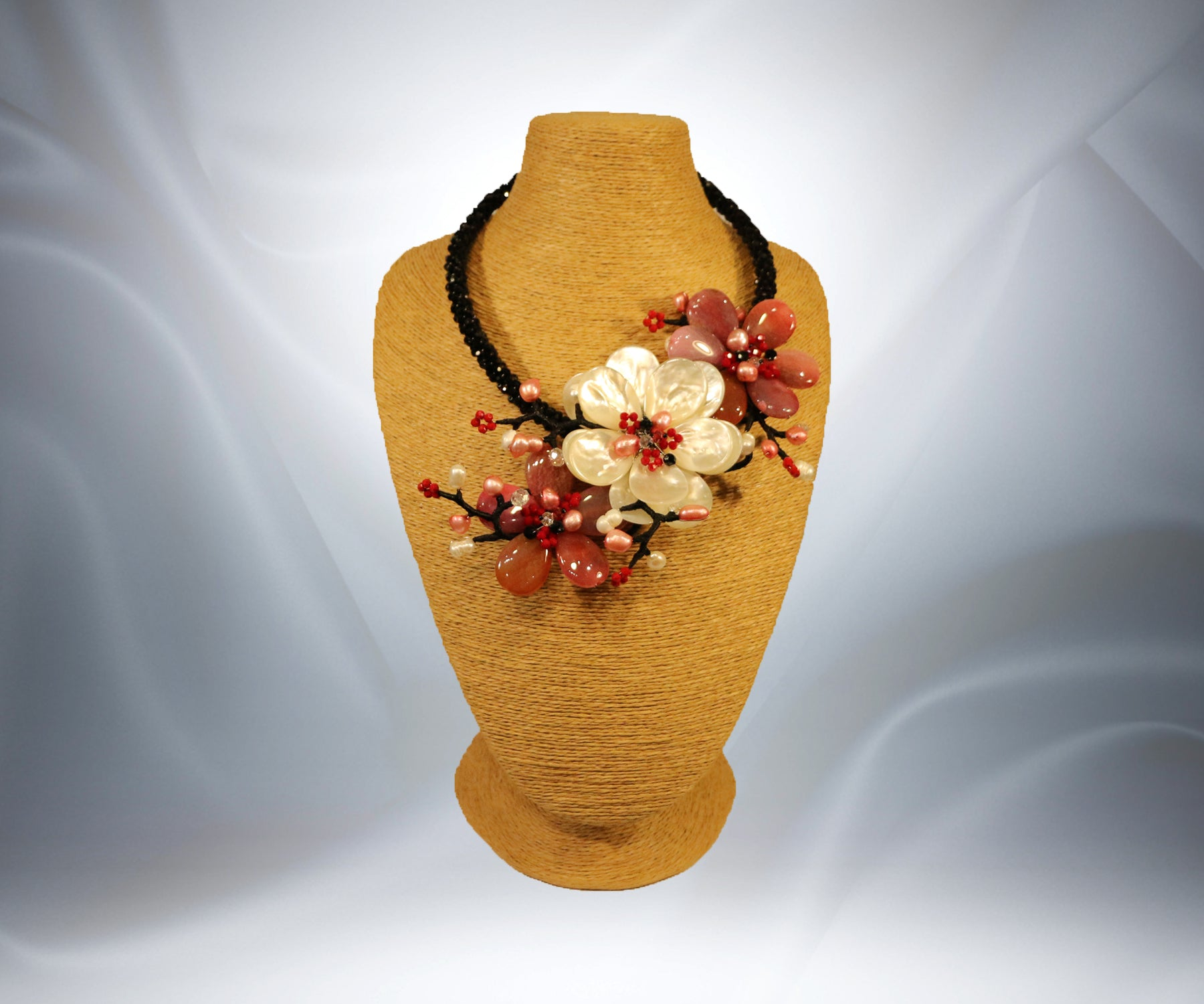 Mother of Pearl Ruby flower Necklace - Tibet Arts & Healing