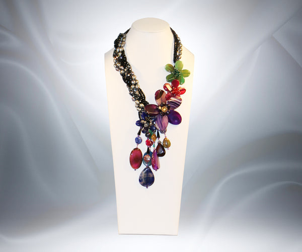 Multi Stone Flower Necklace - Tibet Arts & Healing