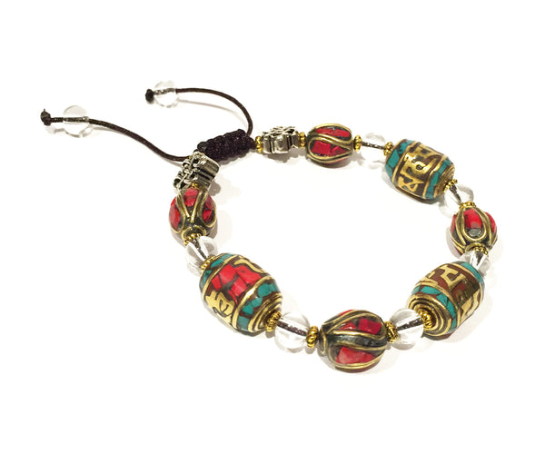 Prayer Wheel Coral Turquoise Bracelet - Tibet Arts & Healing