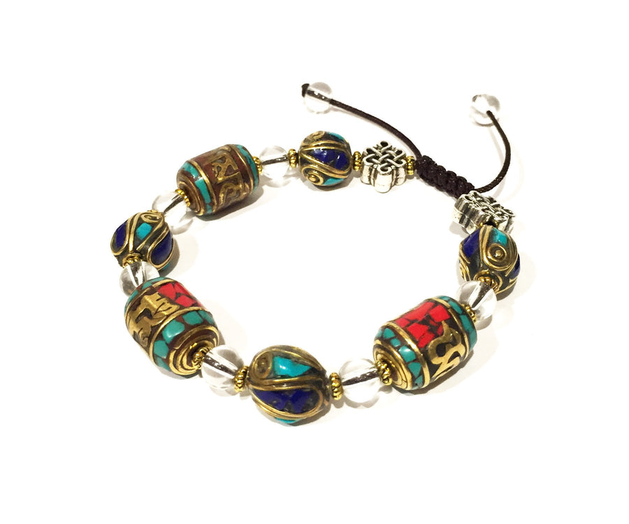 Prayer Wheel Coral Turquoise Bracelet - A