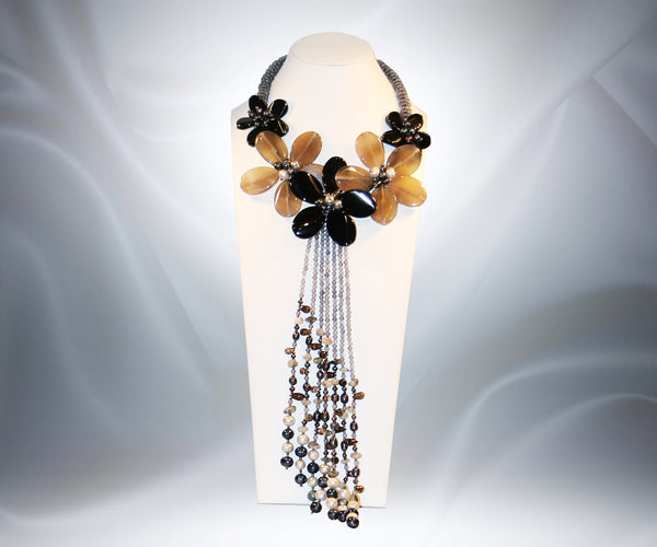 Smokey Quartz Black Onyx Flower Necklace - Tibet Arts & Healing