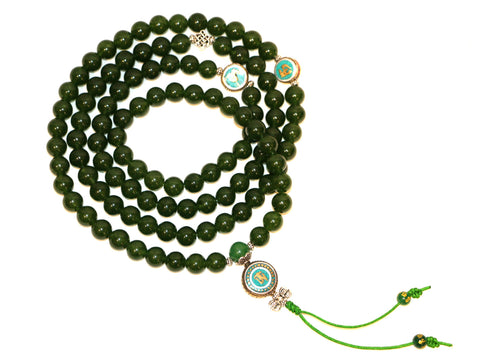 Special Green Jade Necklace Mala with OM - Tibet Arts & Healing