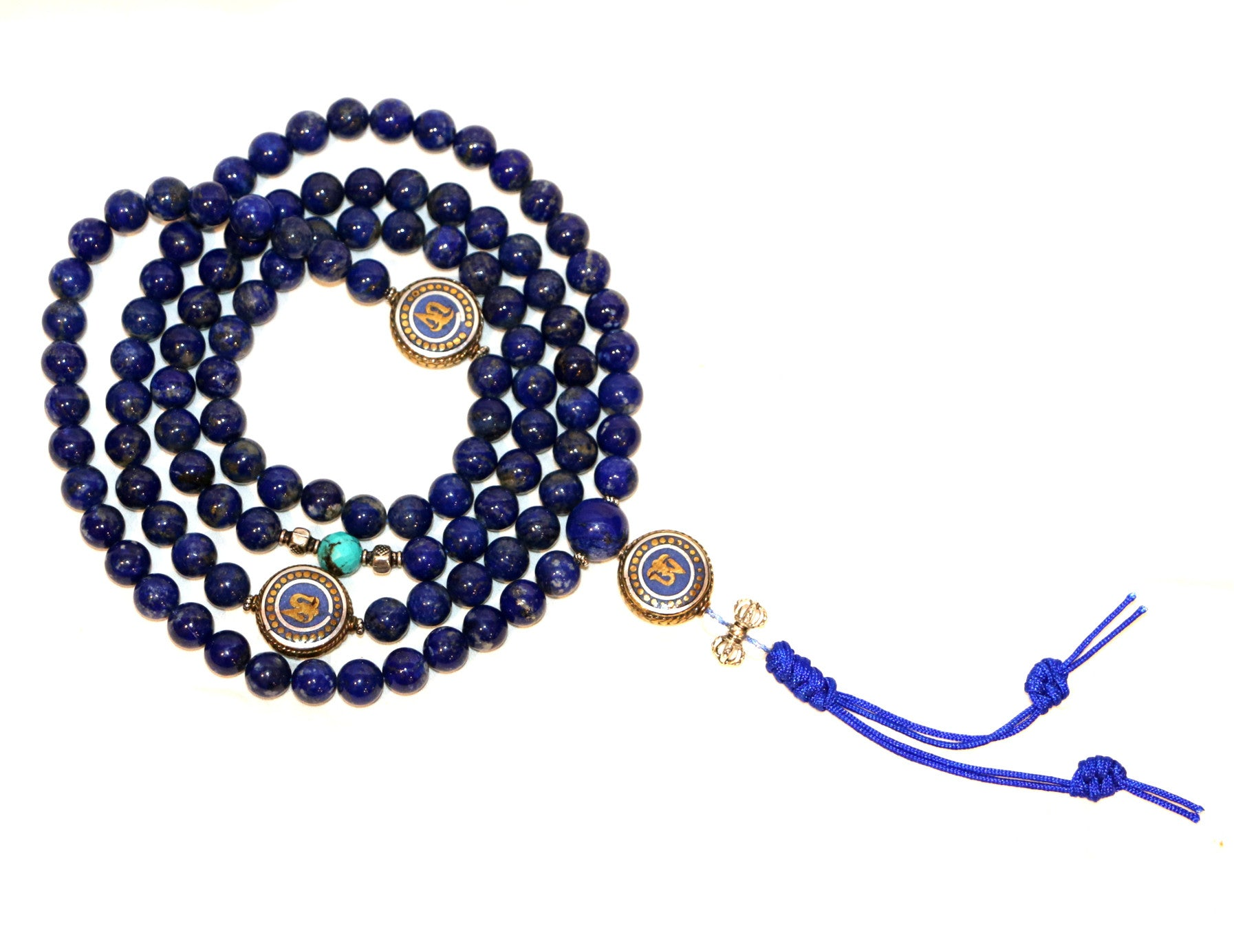 Special Lapis Necklace Mala with OM - Tibet Arts & Healing