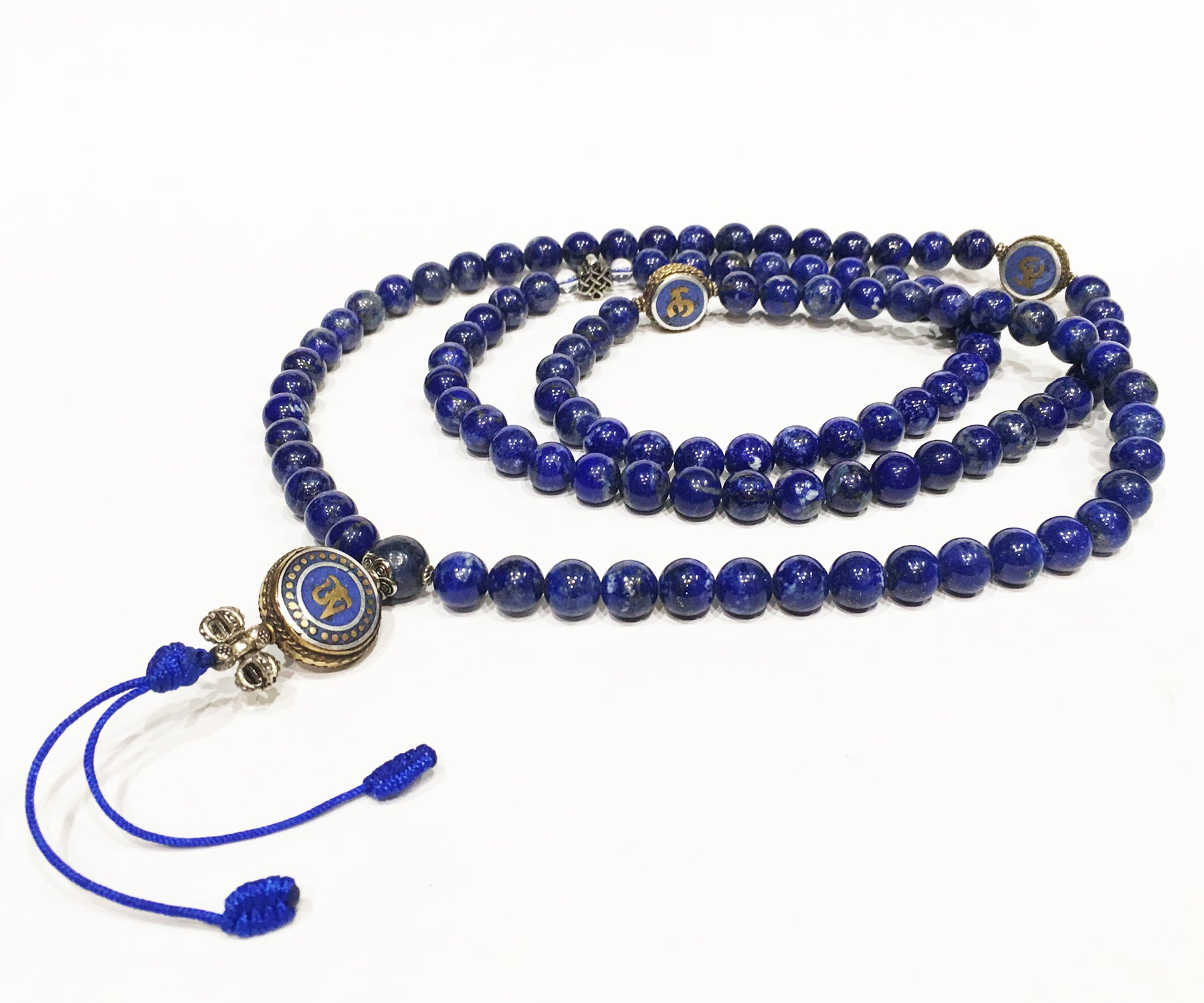 Special OM Lapis Necklace Mala - Tibet Arts & Healing