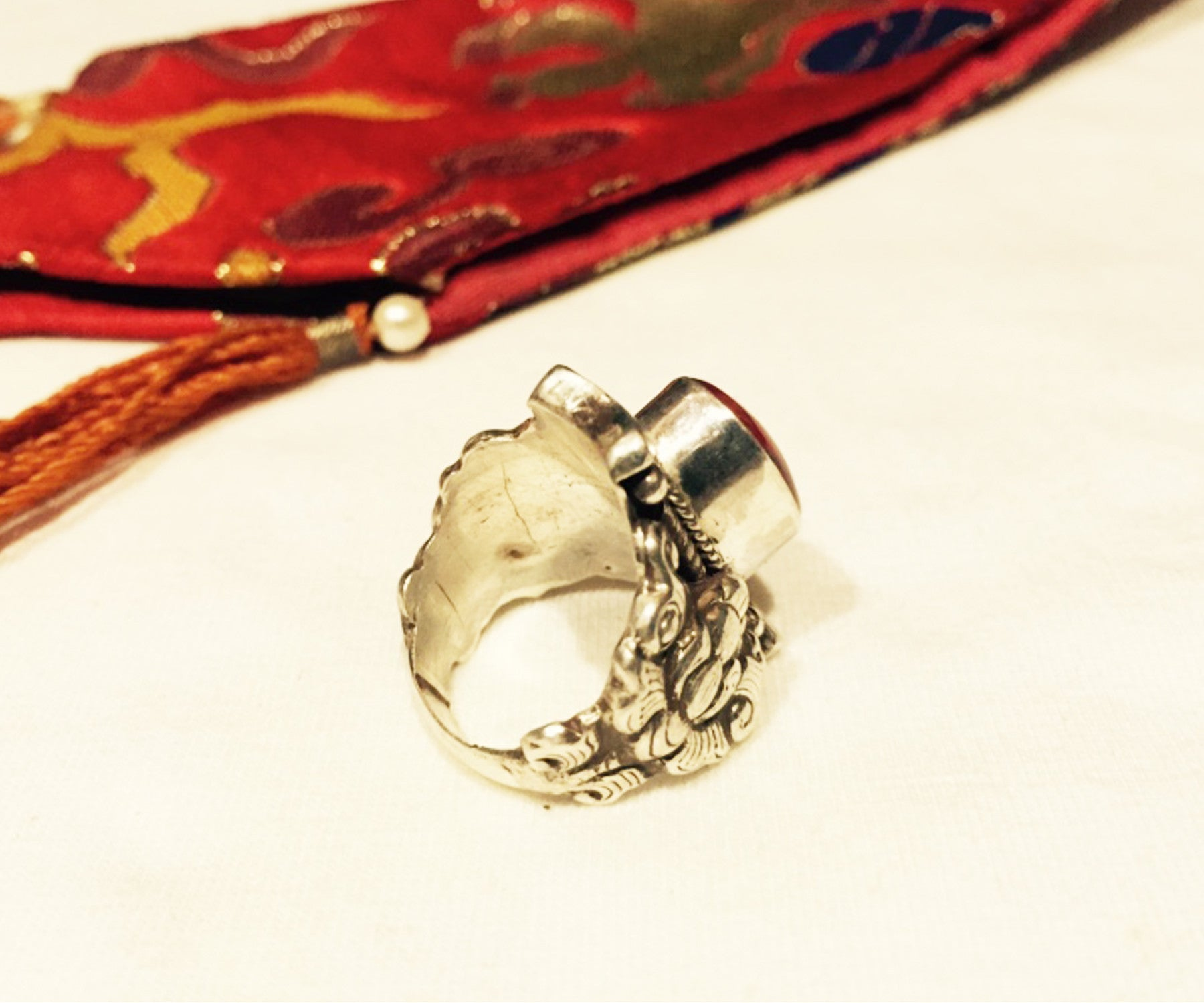 Old Tibetan Starling Silver Red Coral Saddle Ring 3 - Tibet Arts & Healing