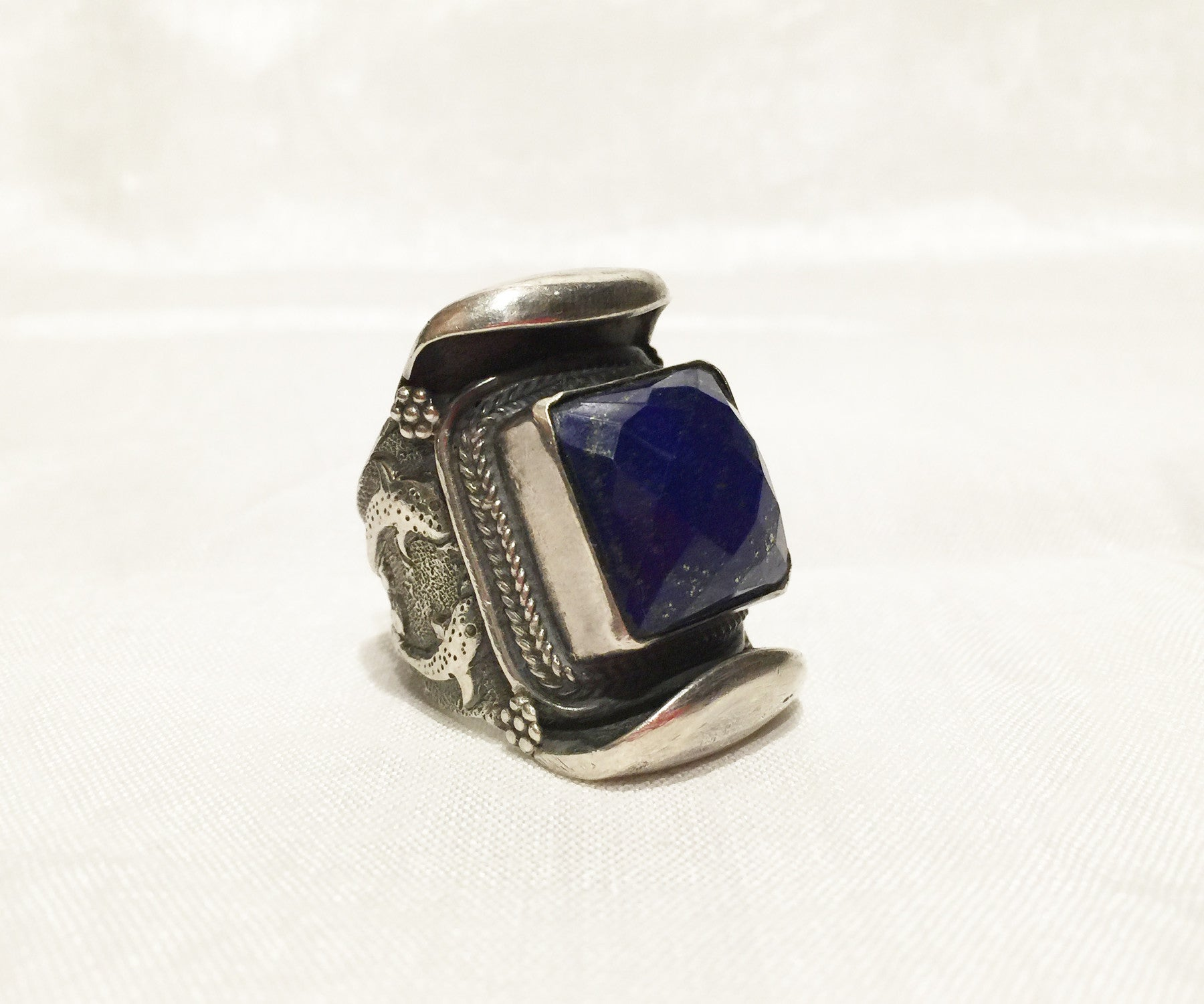 Tibetan Lapis Saddle Ring - Tibet Arts & Healing