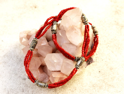 Om Coral Necklace - Tibet Arts & Healing