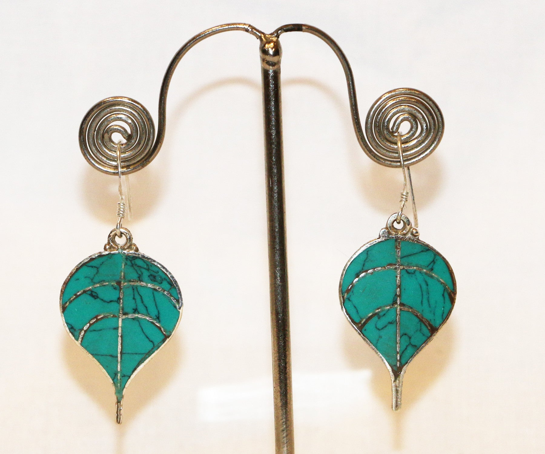 Turquoise Bodhi Leaf Silver Earring - Tibet Arts & Healing