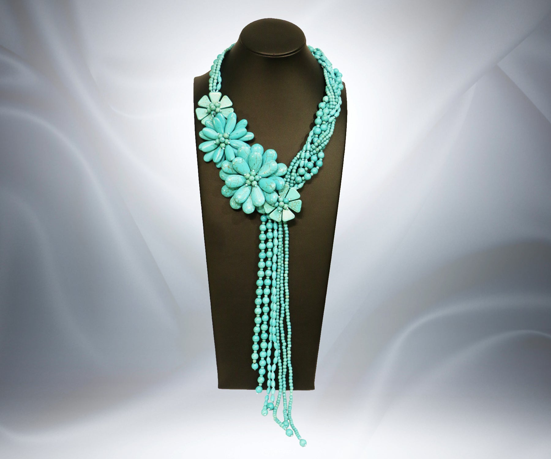 Turquoise Stone Flower Necklace - Tibet Arts & Healing