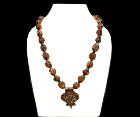 Old Coral Silver Necklace