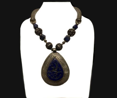 Ancient lapis pegasus necklace