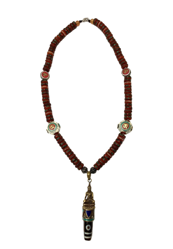OLD TIBETAN MEDICINE MALA WITH BUDDHA