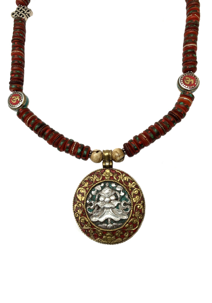 OLD TIBETAN MEDICINE MALA NECKLACE WITH PARASOL PENDANT