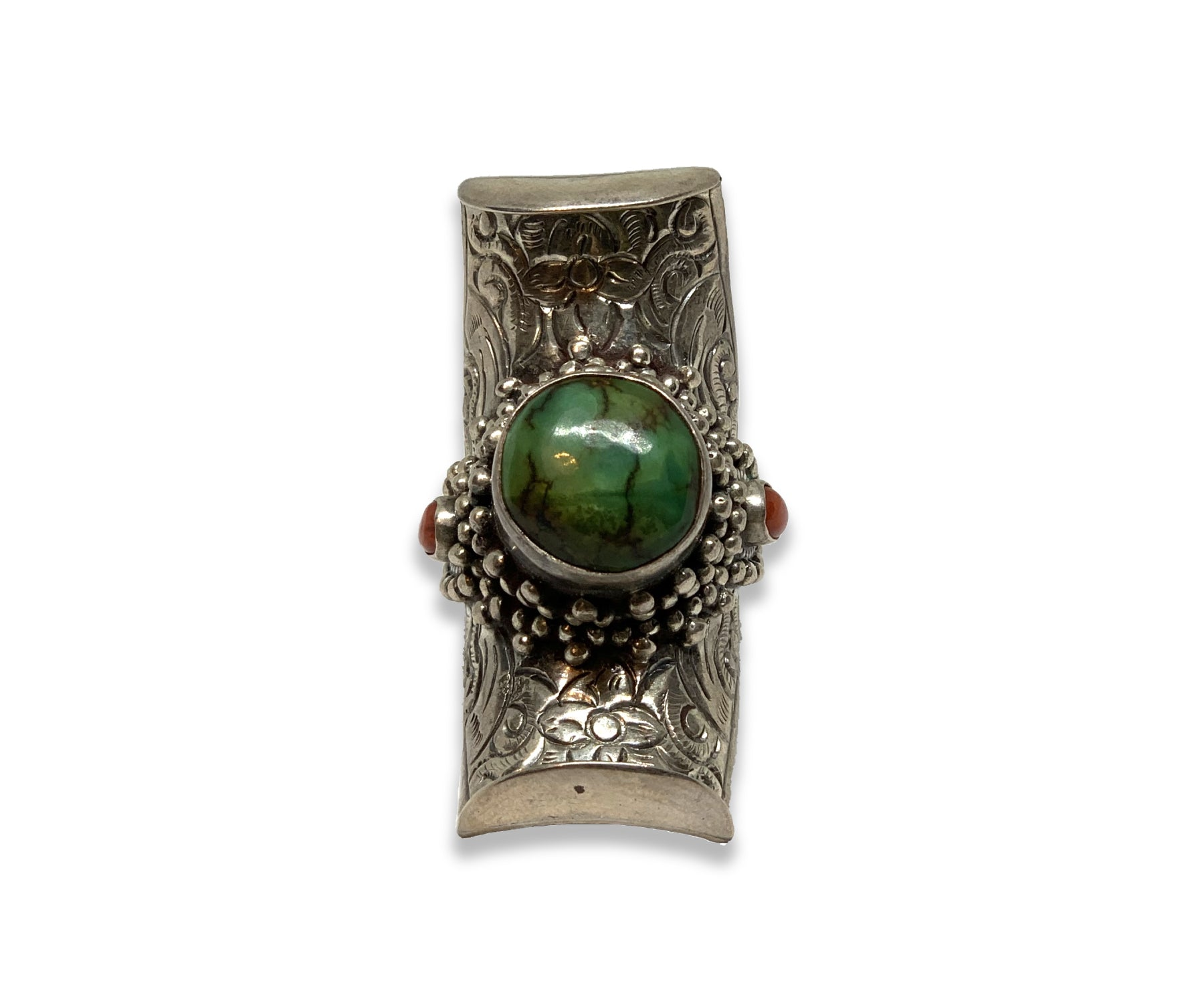 TURQUOISE SADDLE SILVER RING