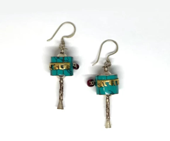 TURQUIOSE PRAYER WHEEL SILVER EAR RING