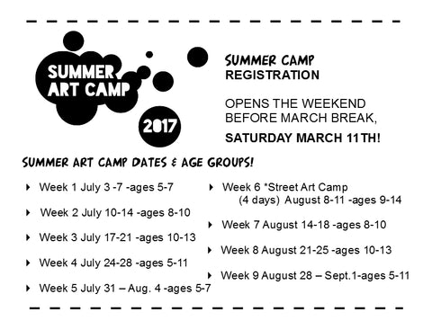 Summer Camp dates & age groups