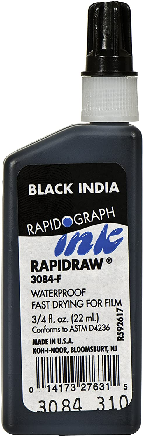 Koh-I-Noor Rapidraw Ink, 0.75 Oz Bottle, Black - Wyndham Art Supplies