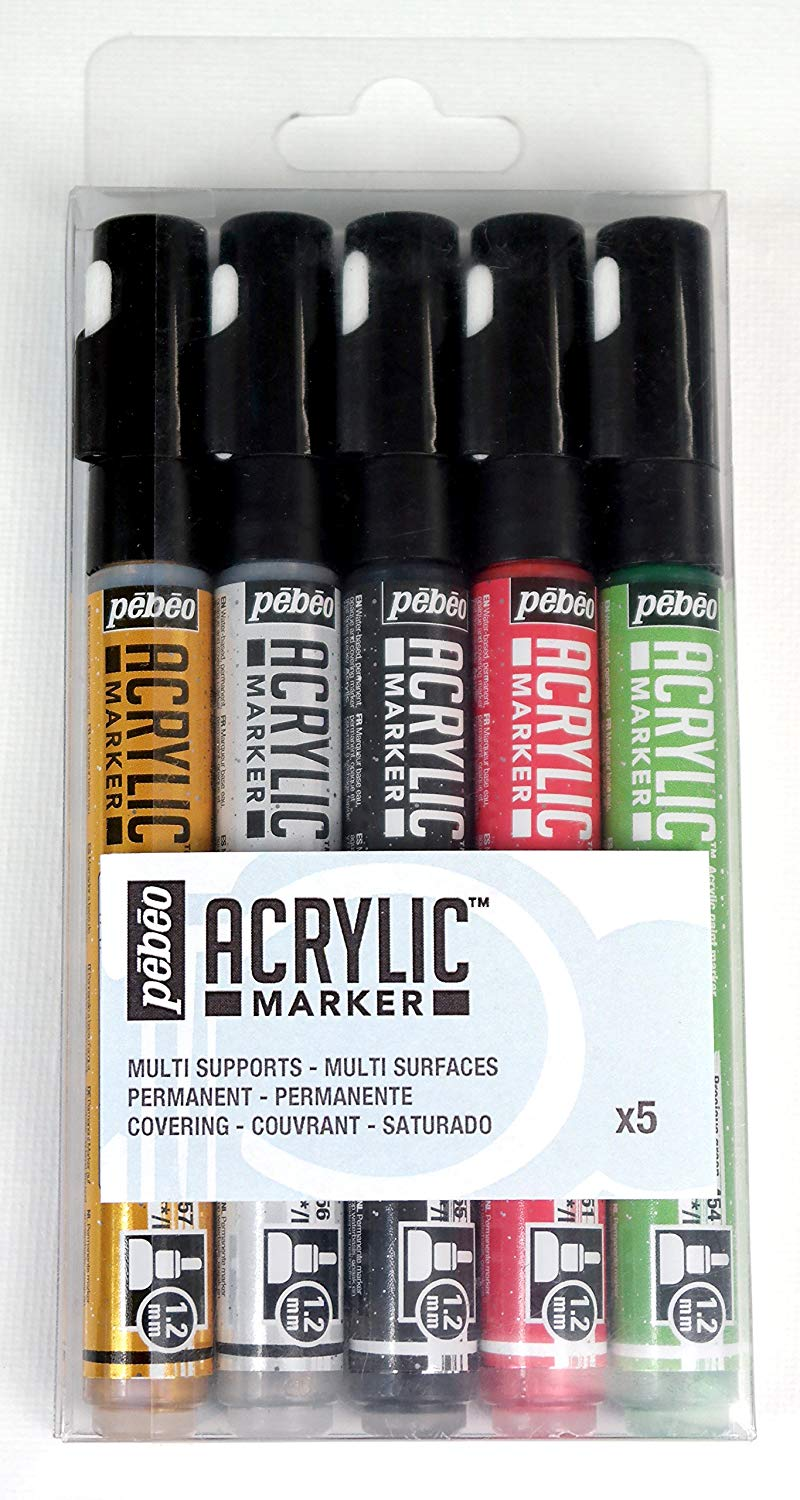 Pebeo Arcylic Marker Set - Metallics (5) - Wyndham Art Supplies